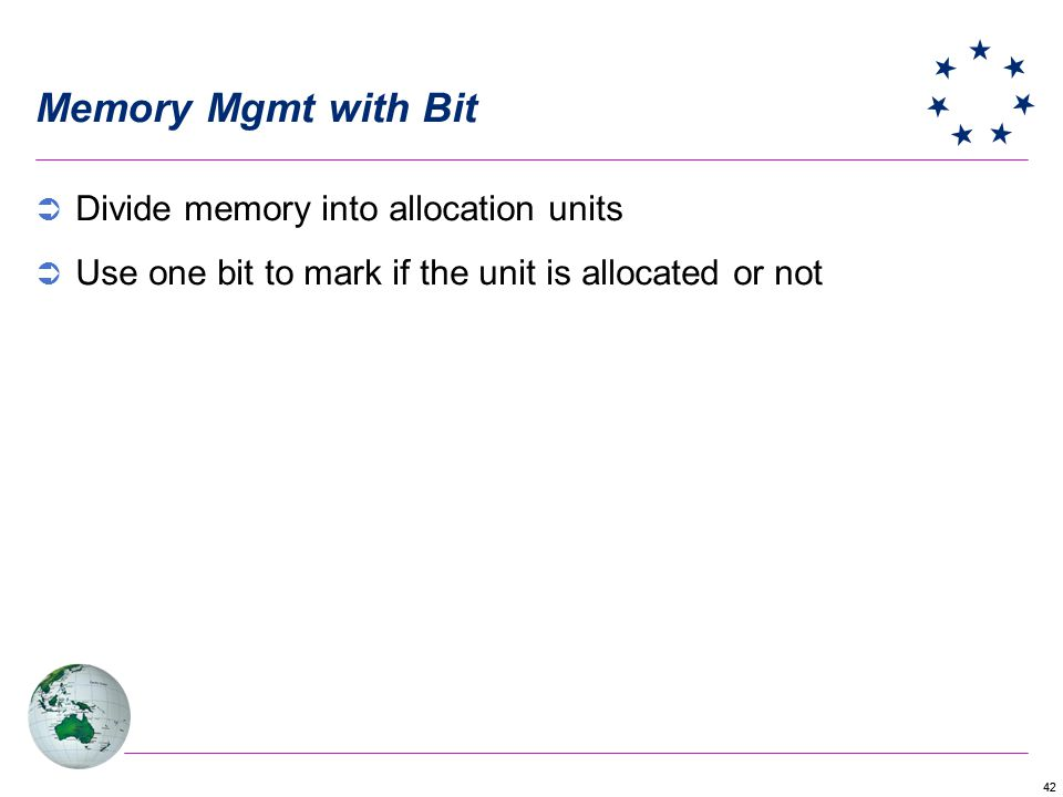 Memory Mgmt with Bit Divide memory into allocation units