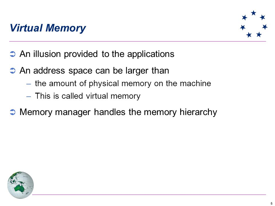 Virtual Memory An illusion provided to the applications