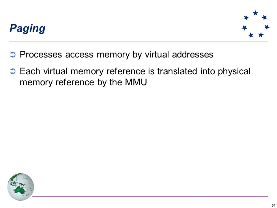 Paging Processes access memory by virtual addresses