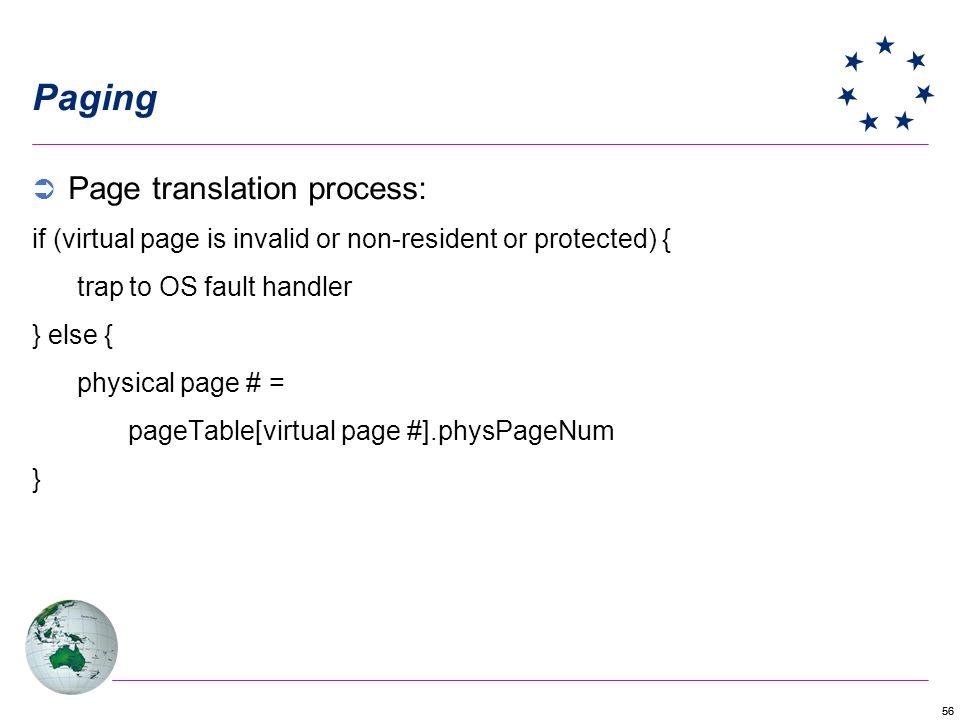 Paging Page translation process: