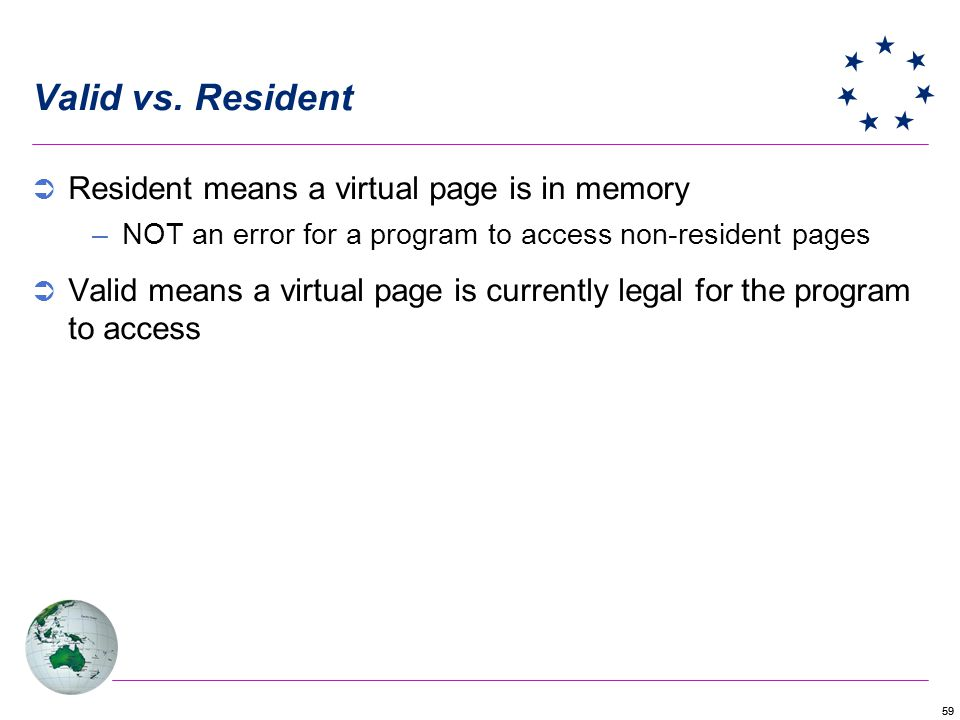 Valid vs. Resident Resident means a virtual page is in memory