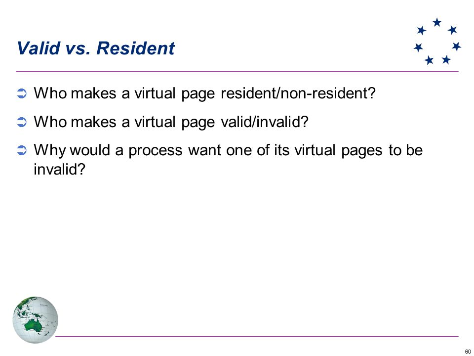 Valid vs. Resident Who makes a virtual page resident/non-resident