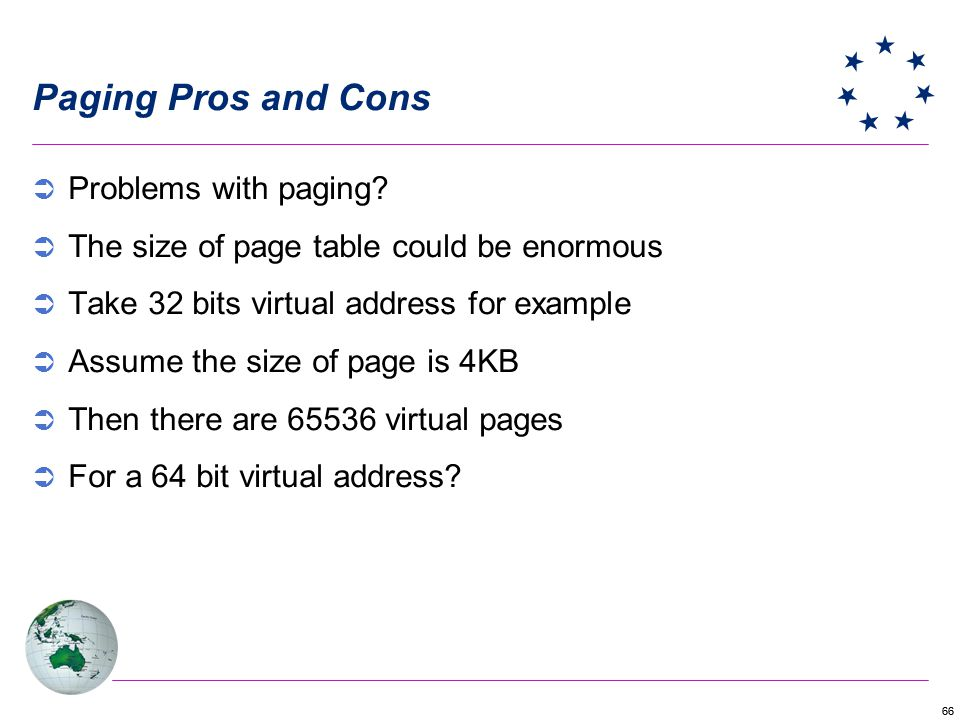 Paging Pros and Cons Problems with paging