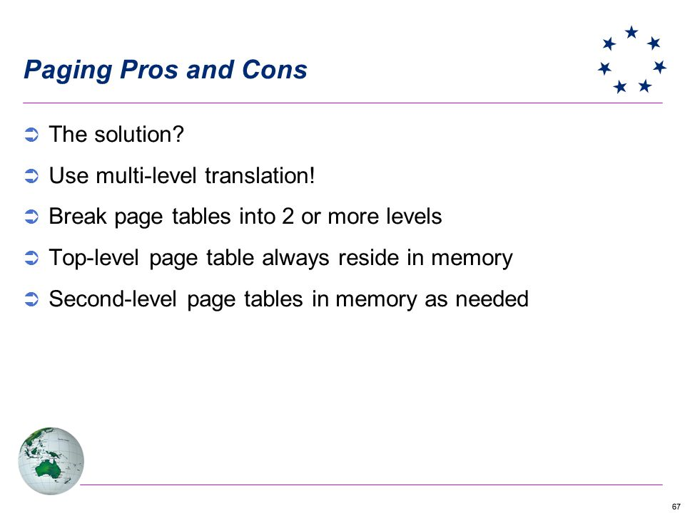 Paging Pros and Cons The solution Use multi-level translation!