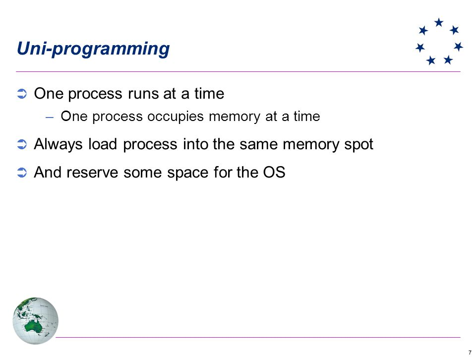 Uni-programming One process runs at a time