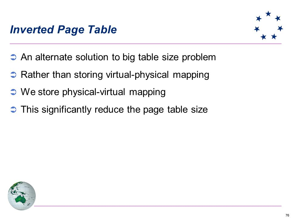 Inverted Page Table An alternate solution to big table size problem