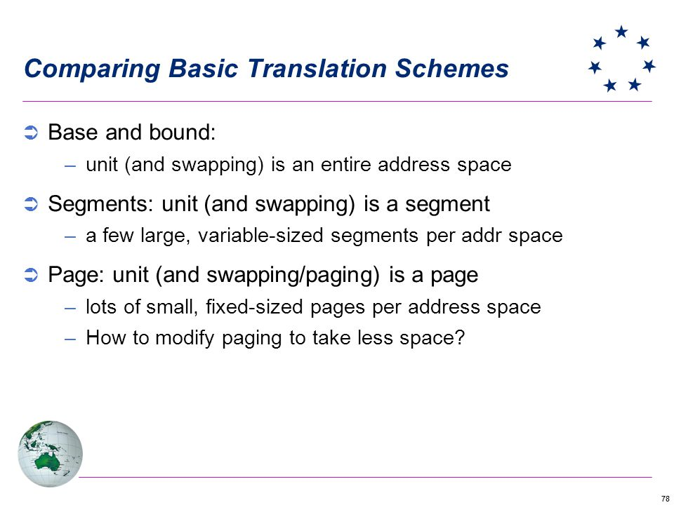Comparing Basic Translation Schemes