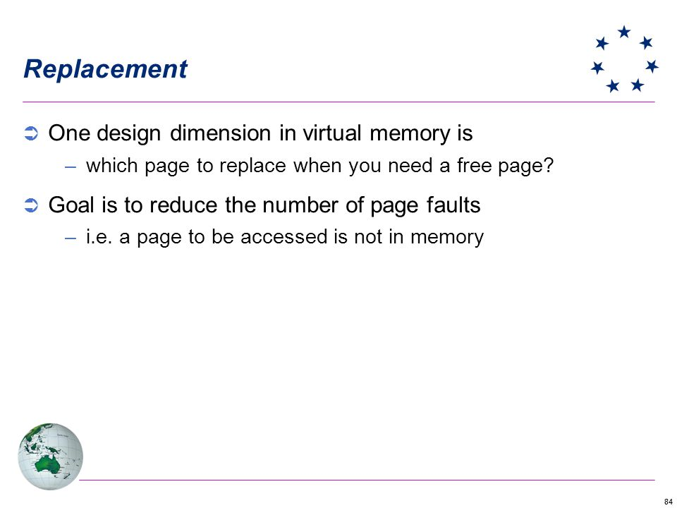 Replacement One design dimension in virtual memory is