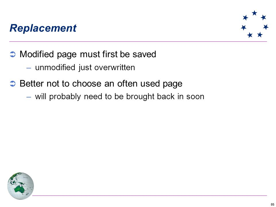 Replacement Modified page must first be saved