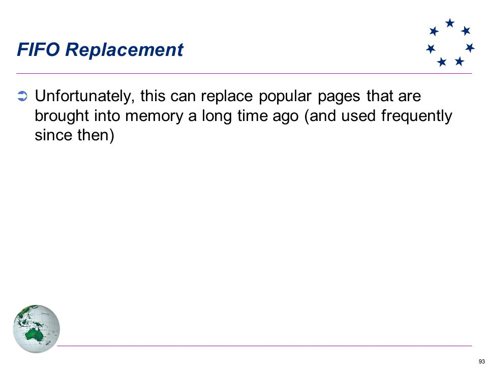 FIFO Replacement Unfortunately, this can replace popular pages that are brought into memory a long time ago (and used frequently since then)