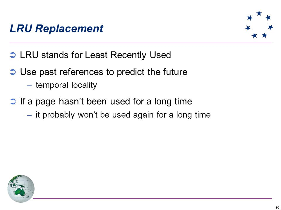 LRU Replacement LRU stands for Least Recently Used