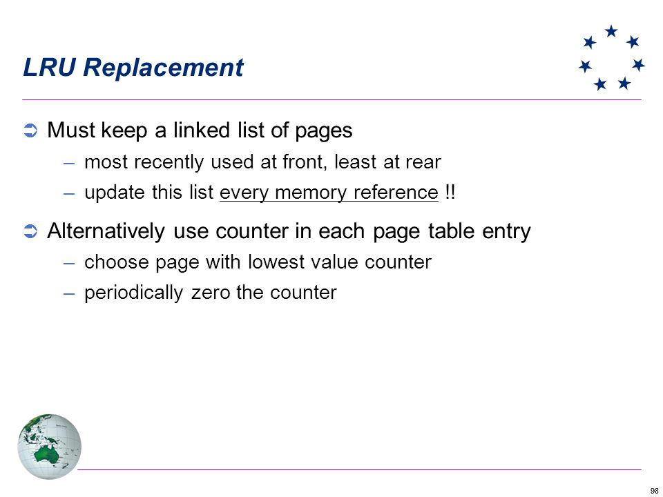LRU Replacement Must keep a linked list of pages