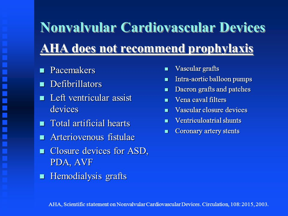 Nonvalvular Cardiovascular Devices AHA does not recommend prophylaxis