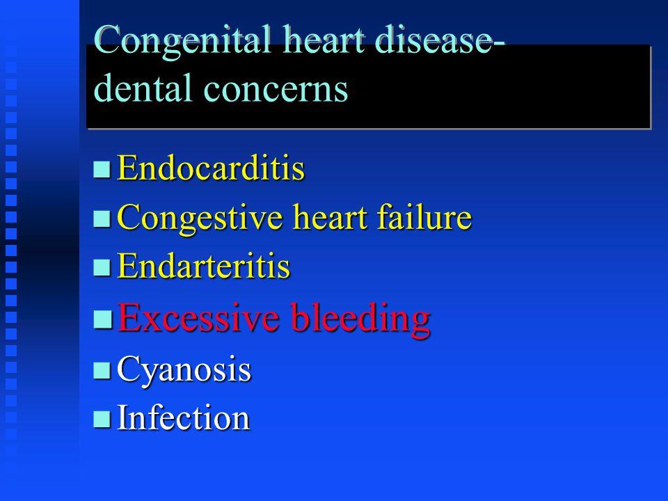 Congenital heart disease- dental concerns