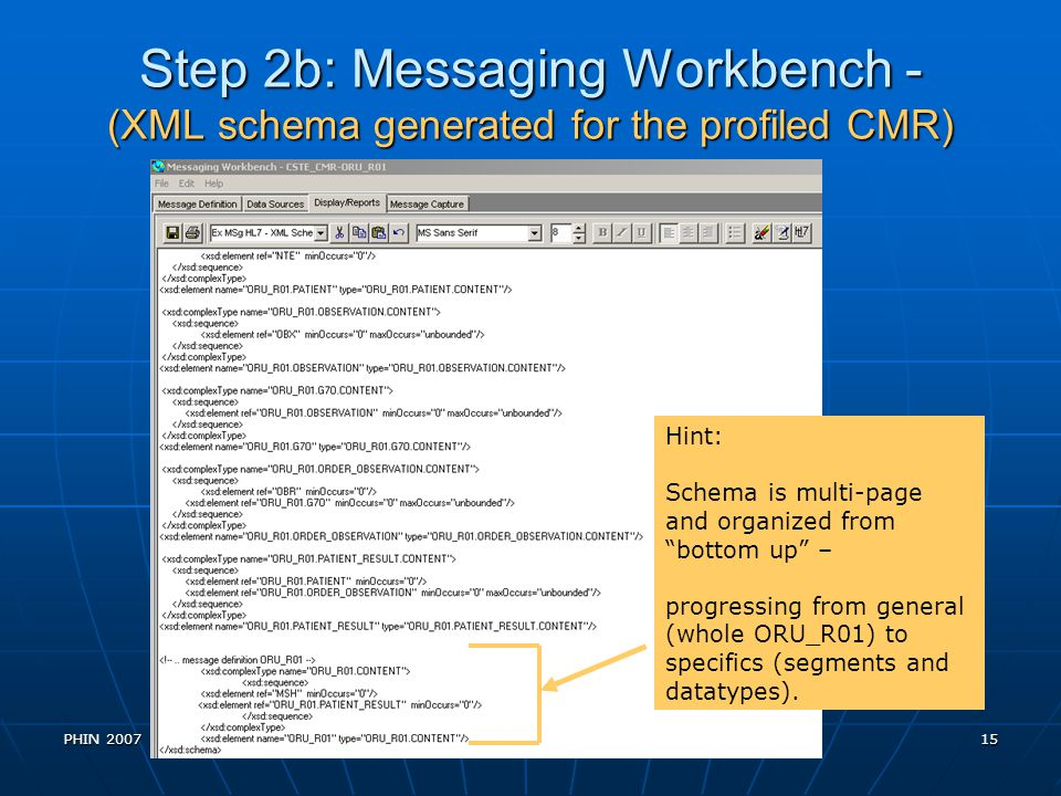 Step 2b: Messaging Workbench - (XML schema generated for the profiled CMR)