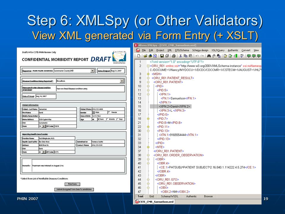 Step 6: XMLSpy (or Other Validators) View XML generated via Form Entry (+ XSLT)