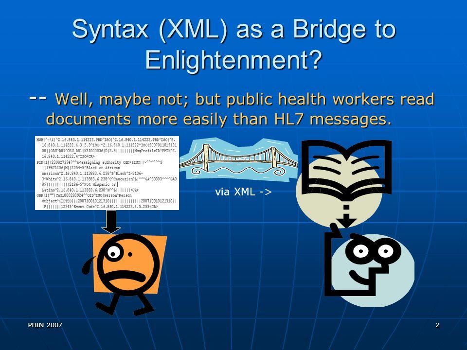 Syntax (XML) as a Bridge to Enlightenment
