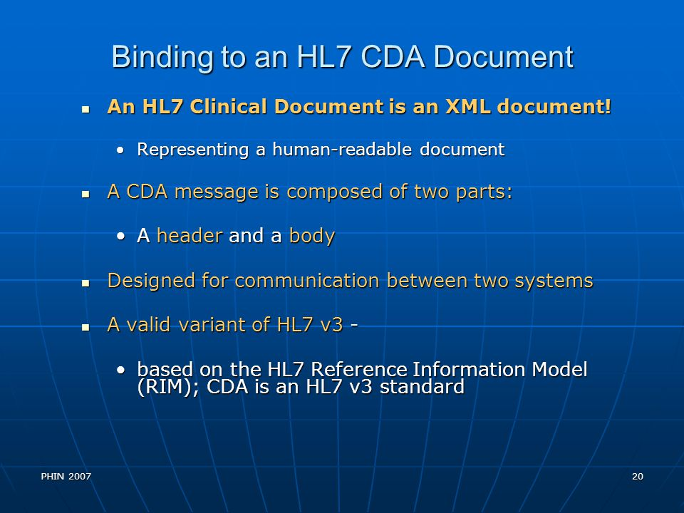 Binding to an HL7 CDA Document