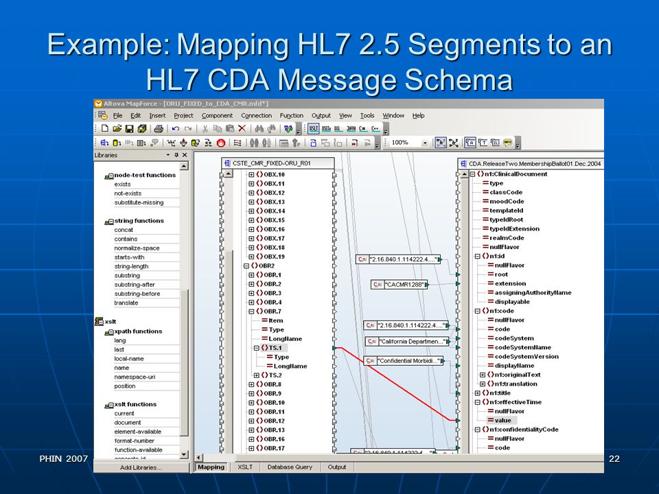 Example: Mapping HL7 2.5 Segments to an HL7 CDA Message Schema