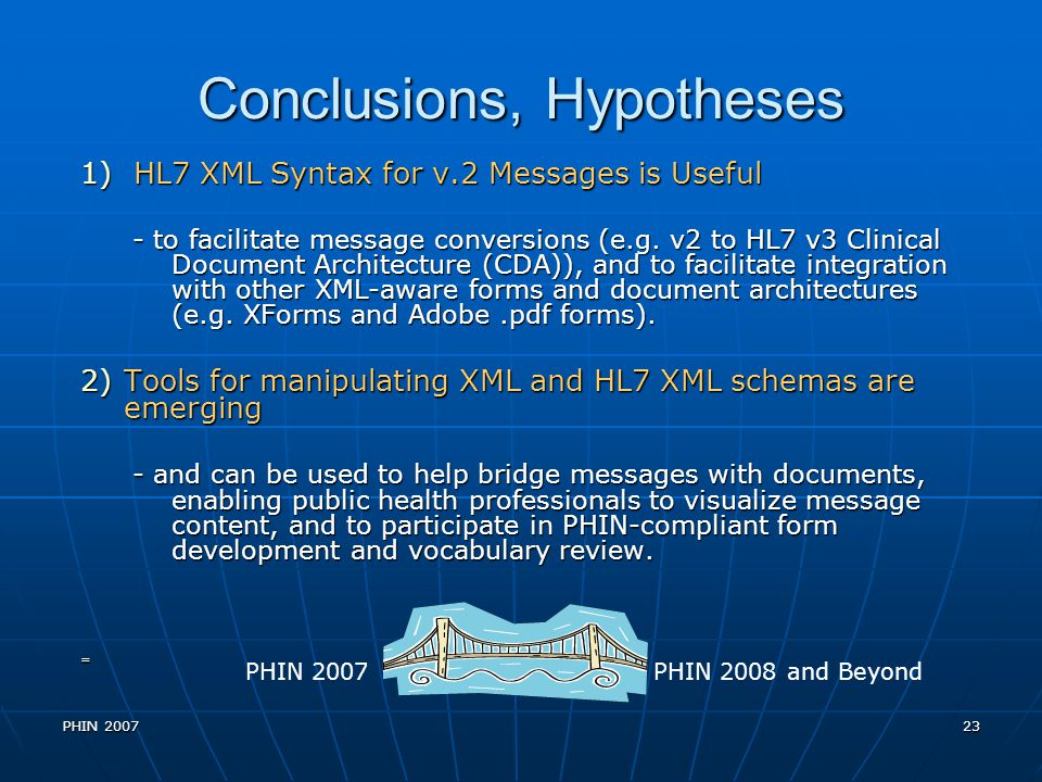 Conclusions, Hypotheses