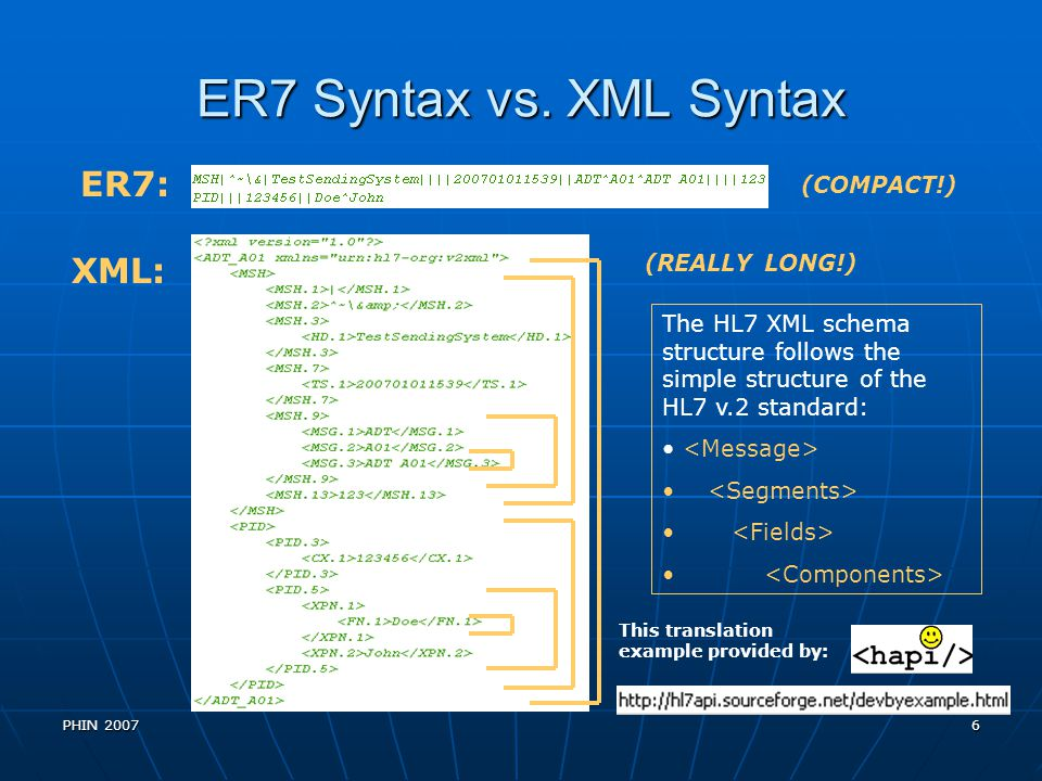 ER7 Syntax vs. XML Syntax ER7: XML: (COMPACT!) (REALLY LONG!)