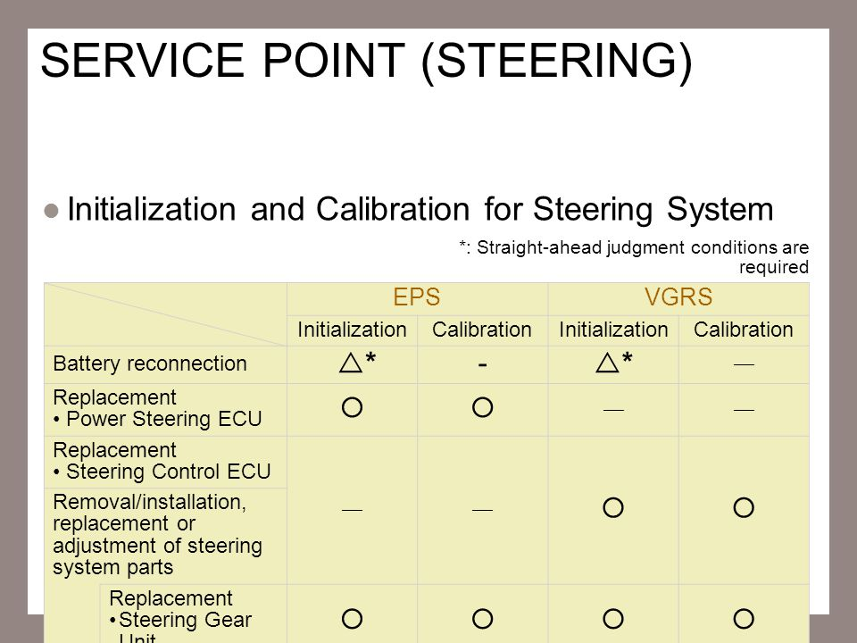 SERVICE POINT (STEERING)