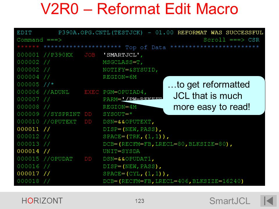 V2R0 – Reformat Edit Macro