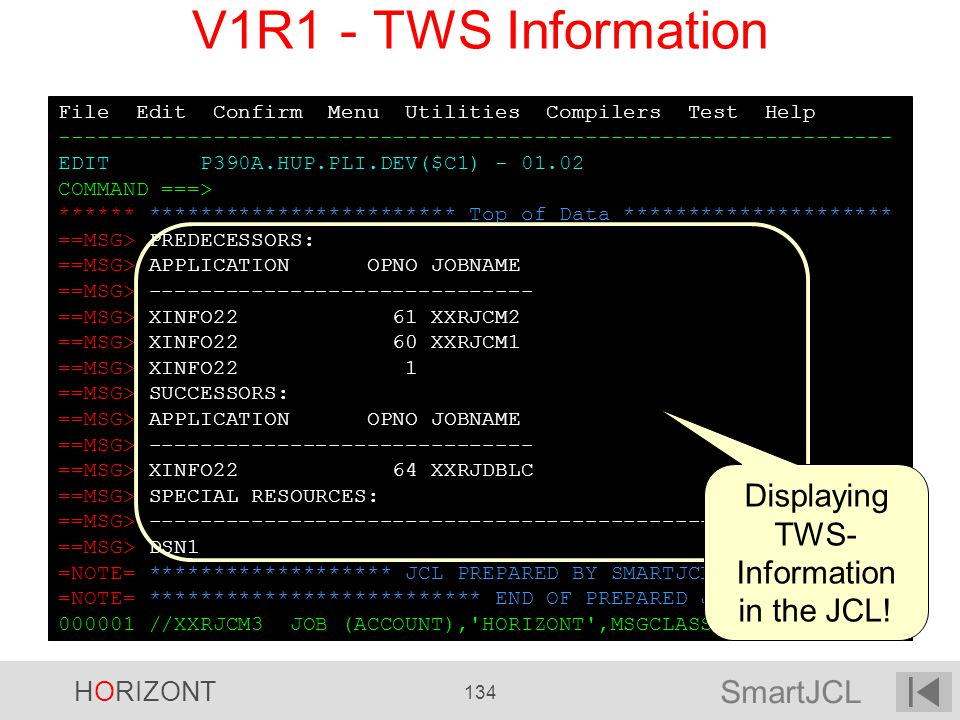 Displaying TWS-Information in the JCL!