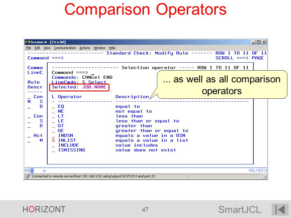 ... as well as all comparison operators