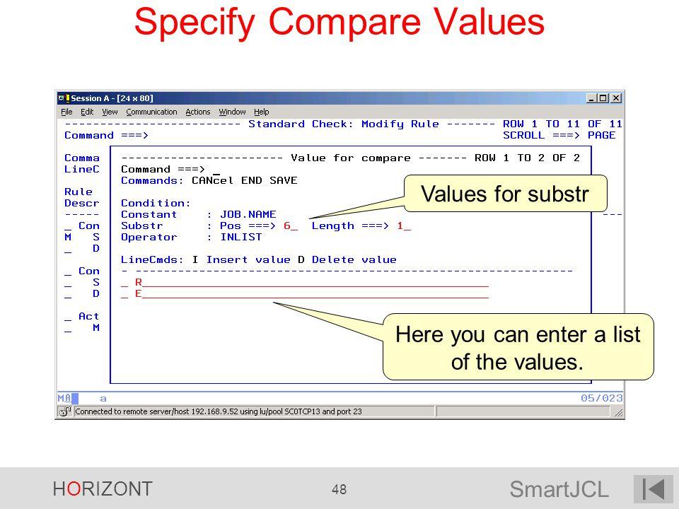 Specify Compare Values