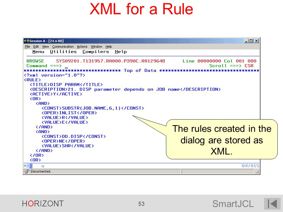 The rules created in the dialog are stored as XML.