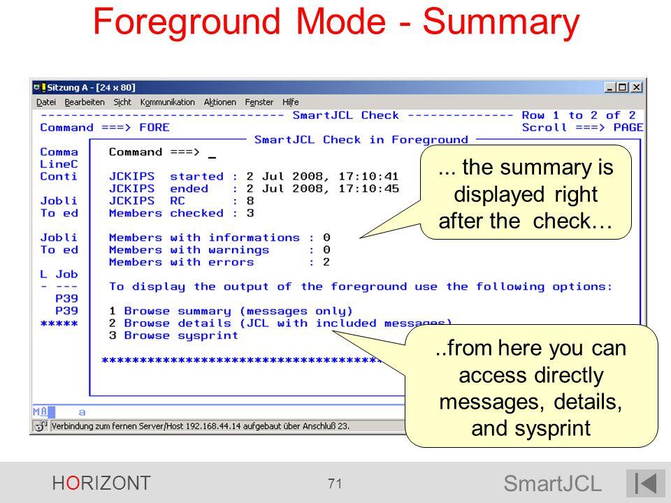 Foreground Mode - Summary