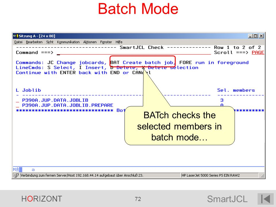 BATch checks the selected members in batch mode…