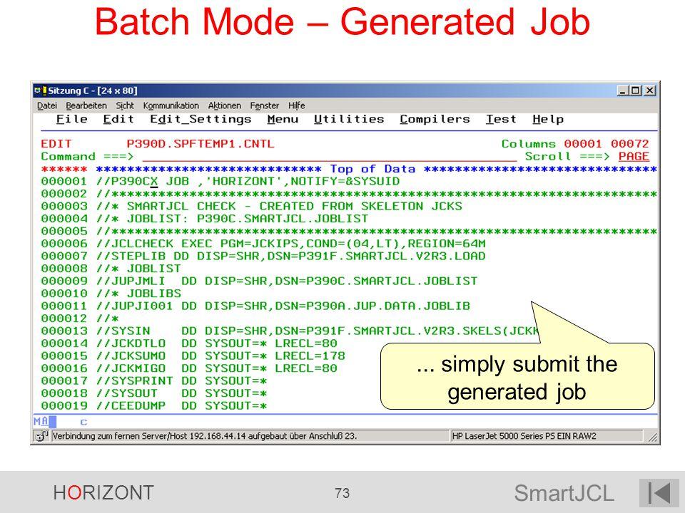 Batch Mode – Generated Job
