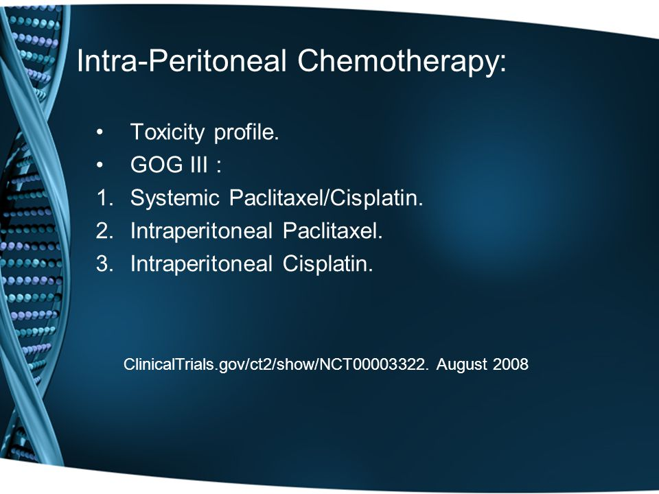 Intra-Peritoneal Chemotherapy:
