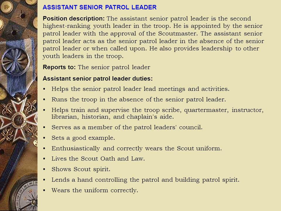 ASSISTANT SENIOR PATROL LEADER