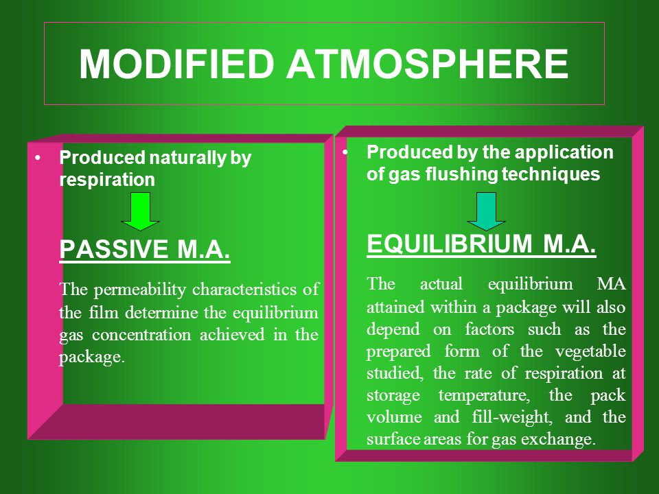 MODIFIED ATMOSPHERE EQUILIBRIUM M.A. PASSIVE M.A.