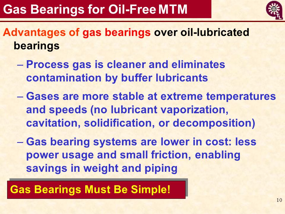 Gas Bearings for Oil-Free MTM