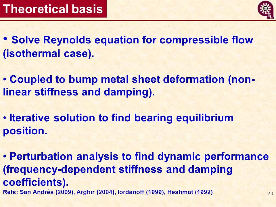 Solve Reynolds equation for compressible flow (isothermal case).