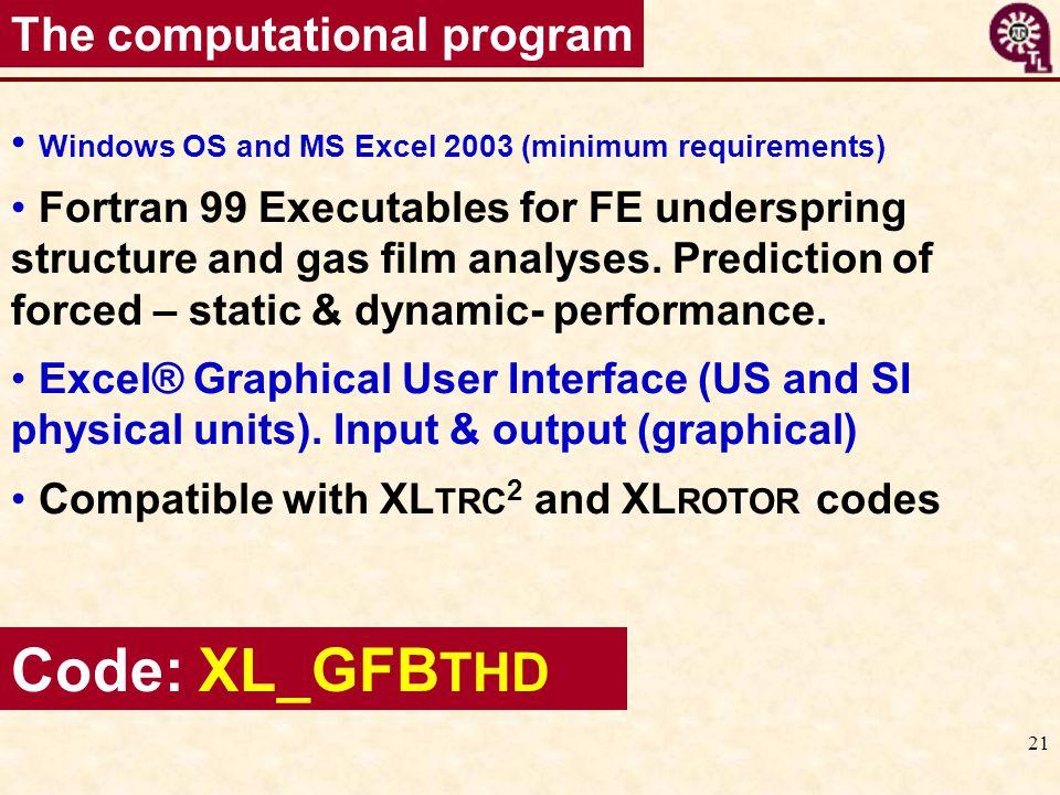 Code: XL_GFBTHD The computational program