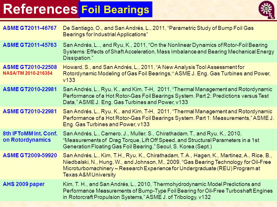 References Foil Bearings ASME GT2011-46767