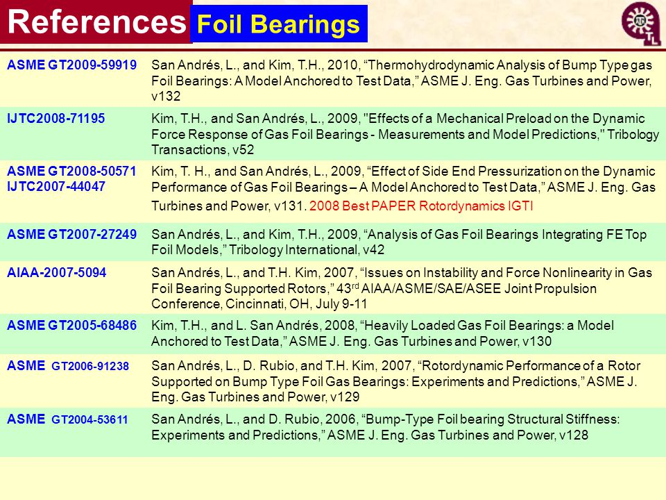References Foil Bearings ASME GT2009-59919