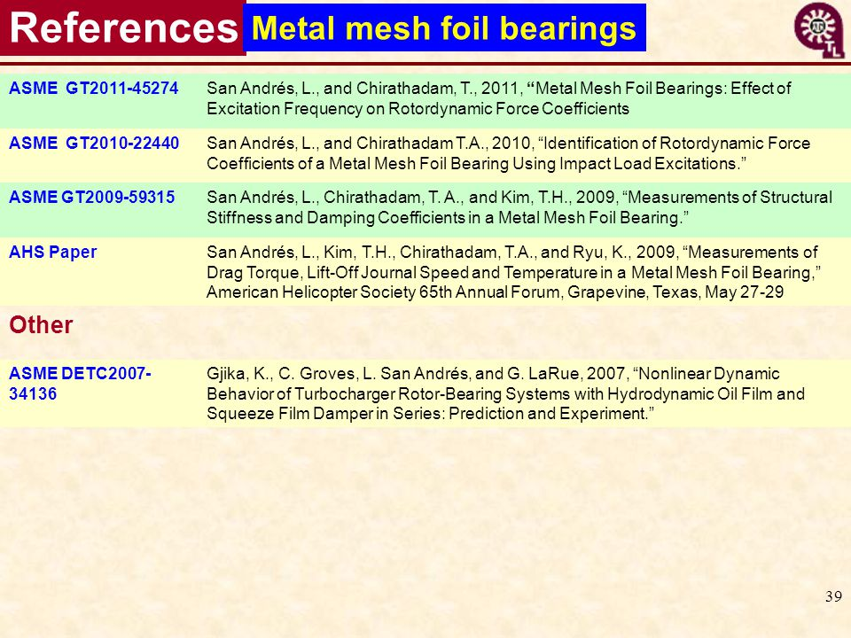 References Metal mesh foil bearings Other ASME GT2011-45274