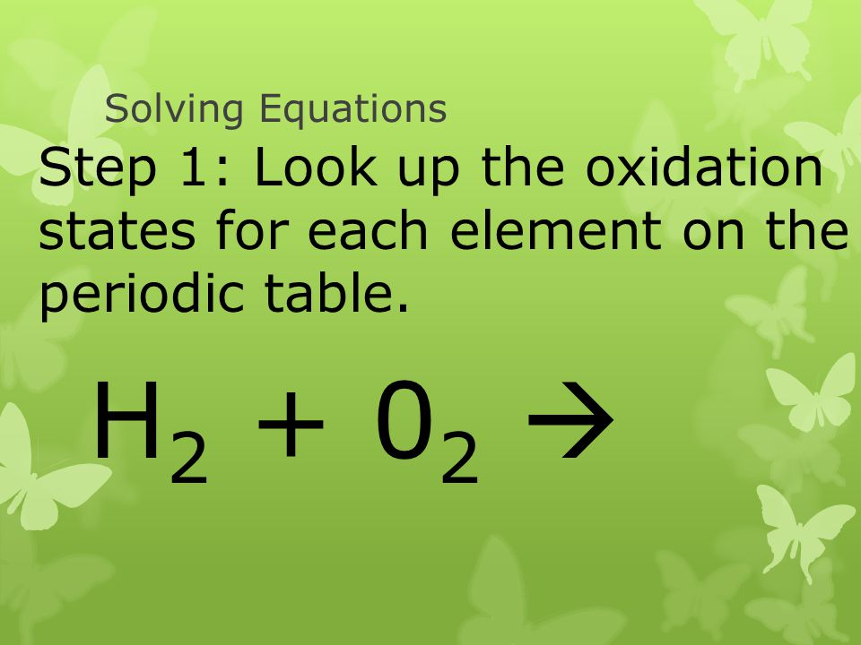 Solving Equations Step 1: Look up the oxidation states for each element on the periodic table.