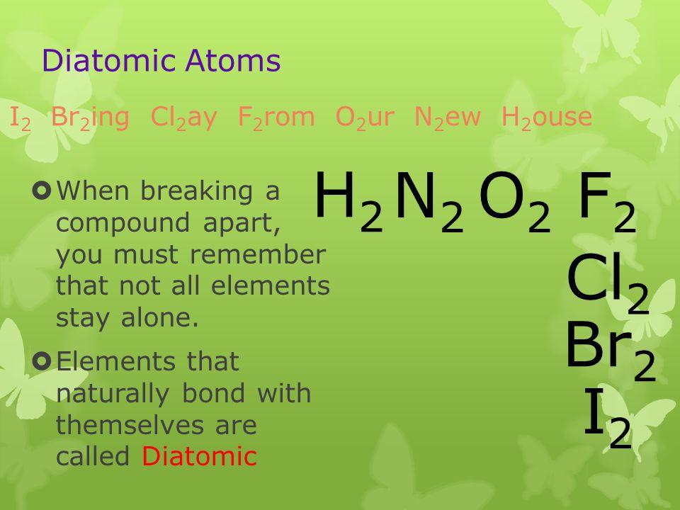 H2 N2 O2 F2 Cl2 Br2 I2 Diatomic Atoms