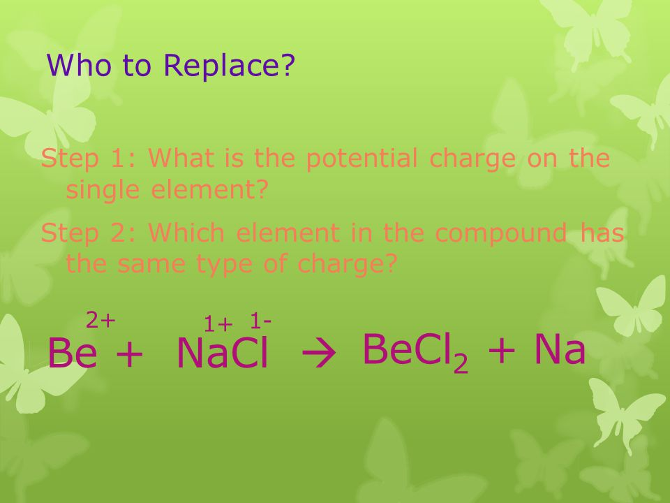 BeCl2 + Na Be + NaCl  Who to Replace