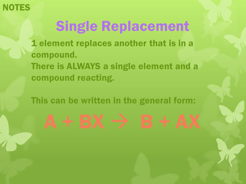A + BX  B + AX Single Replacement NOTES