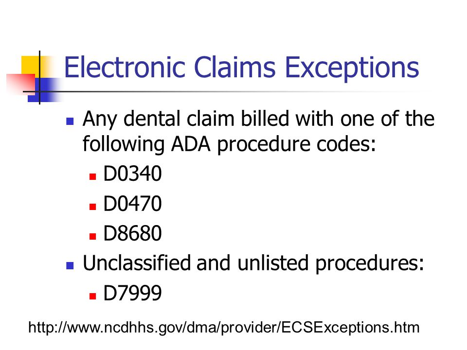 Electronic Claims Exceptions