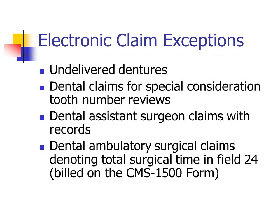 Electronic Claim Exceptions