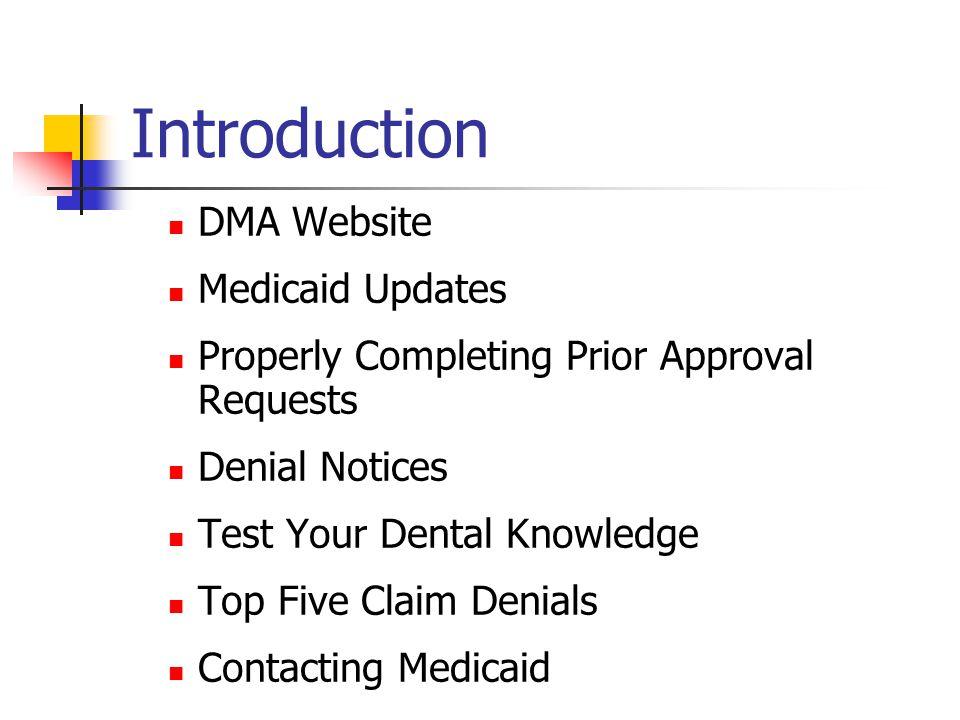 Introduction DMA Website Medicaid Updates